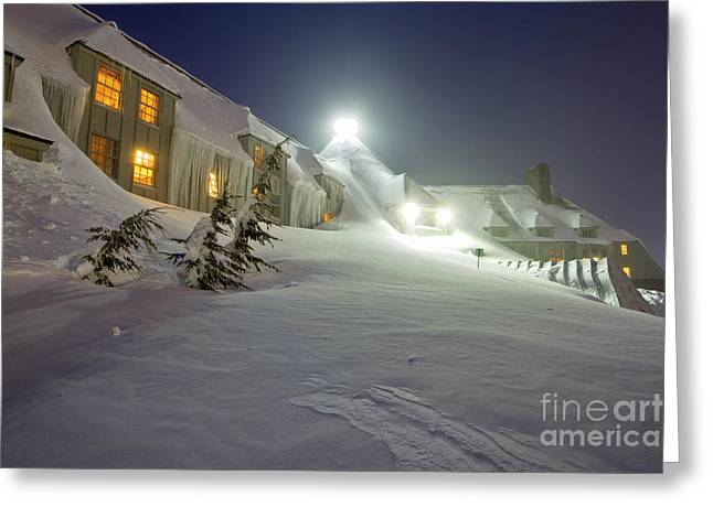 Snow Drifts Greeting Cards - Timberline Lodge Mt Hood Snow Drifts at night Greeting Card by Dustin K Ryan