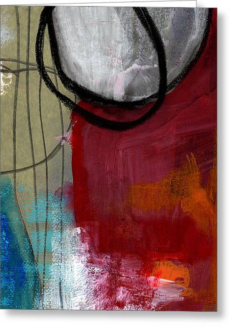 Shapes Mixed Media Greeting Cards - Time Between- Abstract Art Greeting Card by Linda Woods
