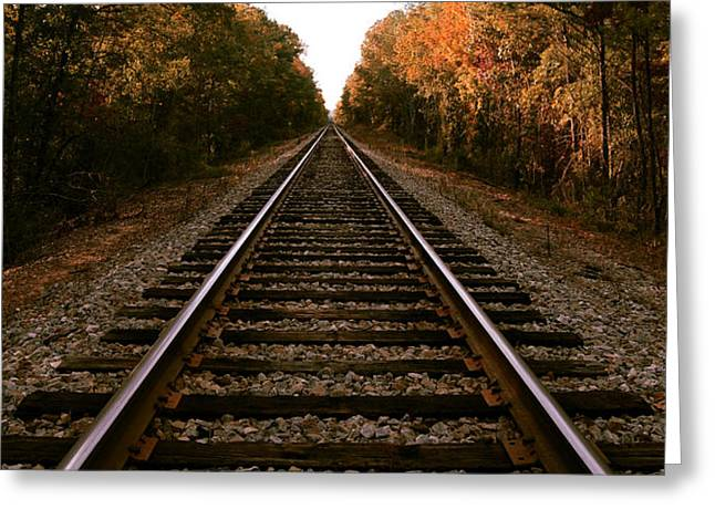 Railroad Tracks Greeting Cards - Time Greeting Card by Christopher Lugenbeal