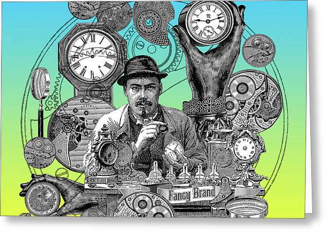 Repaired Drawings Greeting Cards - Time Doctor Greeting Card by Denys Golemenkov