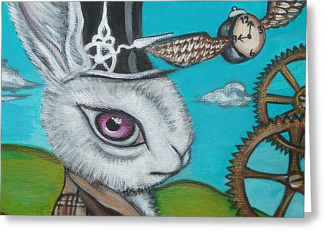 Cog Paintings Greeting Cards - Time Flies for the White Rabbit Greeting Card by Jaz Higgins