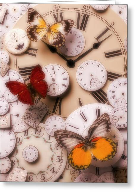 Clock Hands Greeting Card featuring the photograph Time Flies by Garry Gay