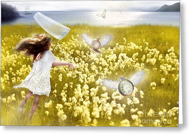 Girl In Dress Greeting Cards - Time Flys When Youre Having Fun Greeting Card by Carrie Jackson