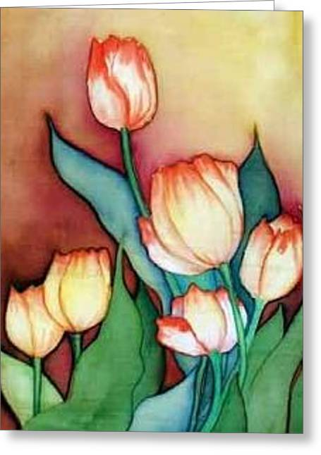 Vivid Tapestries - Textiles Greeting Cards - Time For Tulips Greeting Card by Francine Dufour Jones