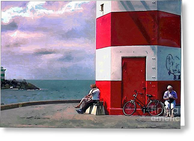 Dutch Lighthouse Greeting Cards - Time Gate 2 Greeting Card by GabeZ Art