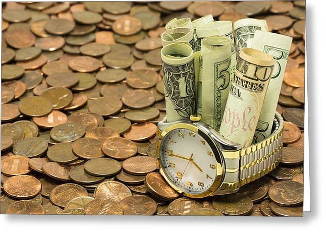 Straps Greeting Cards - Time Is Money 5 A Greeting Card by John Brueske