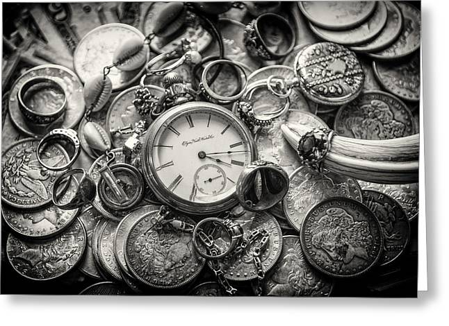 Cufflinks Greeting Cards - Time is Money Greeting Card by Nichon Thorstrom