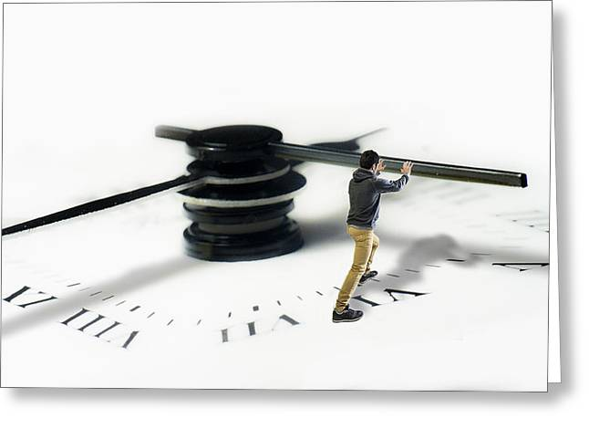 Clock Greeting Cards - Time Is Pressing? .. No Problem ! Greeting Card by Matteo Lannutti