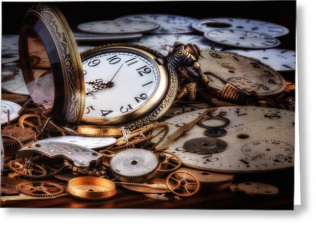Cog Greeting Cards - Time Machine Still Life Greeting Card by Tom Mc Nemar