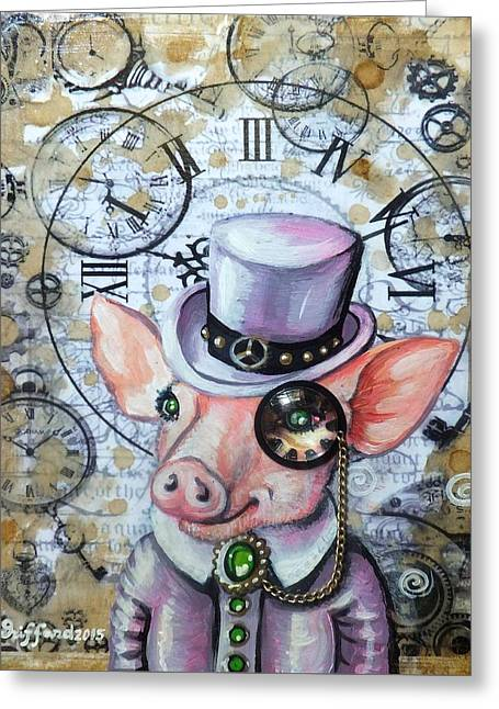 Piglets Greeting Cards - Time OClock Greeting Card by Anna Griffard