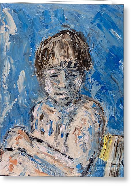 Pallet Knife Greeting Cards - Time out Greeting Card by Shane Rodarte