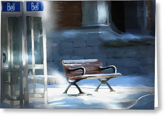 Bus Stop Greeting Cards - Time Passages - Call Waiting Greeting Card by Bob Salo
