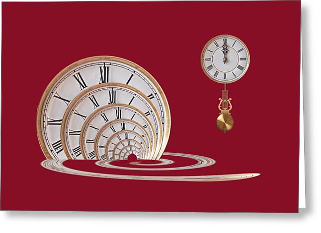 Portal Greeting Cards - Time Portal In Red Greeting Card by Gill Billington