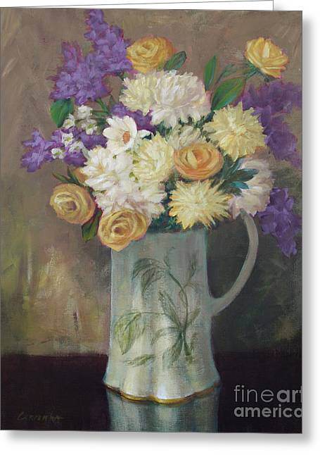 Pitcher Of Roses Greeting Cards - Time Stands Still Greeting Card by Sue Cervenka