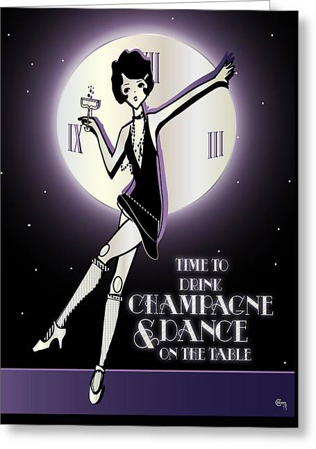 Party Invite Greeting Cards - Time to Drink Champagne and Dance on the Table 1920s Gatsby Flapper Girl  Greeting Card by Cecely Bloom