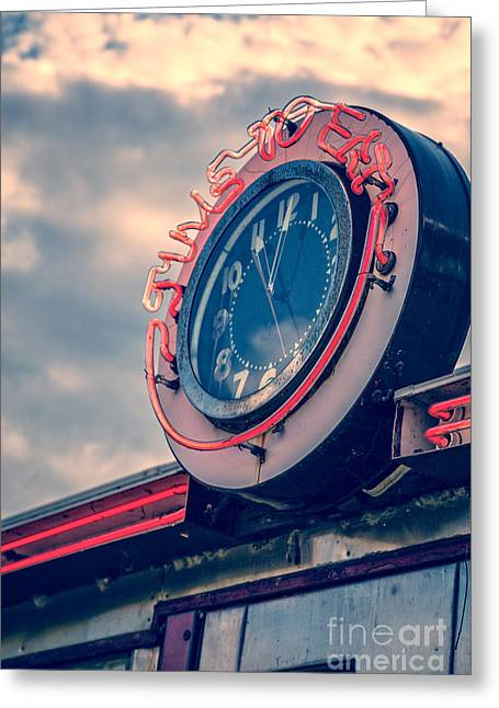 Quechee Greeting Cards - Time To Eat Neon Diner Clock Greeting Card by Edward Fielding