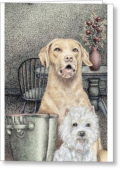Hound Drawings Greeting Cards - Time To Walk Greeting Card by Sandra Moore
