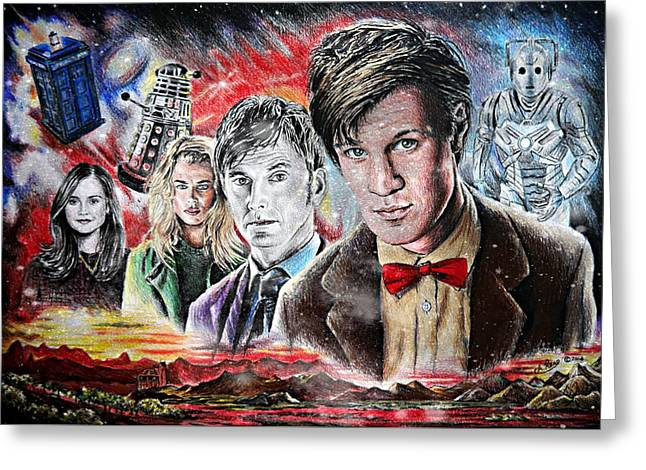 Coloured Greeting Cards - Time Travel space edit version Greeting Card by Andrew Read