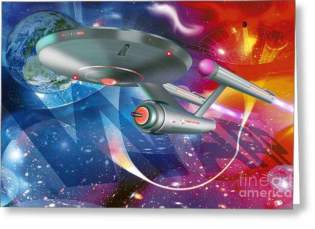 Enterprise Greeting Cards - Time Traveling Spacecraft, Artwork Greeting Card by Detlev van Ravenswaay