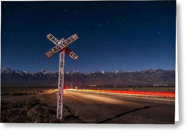 Light Trails Greeting Cards - Time Warp Greeting Card by Cat Connor