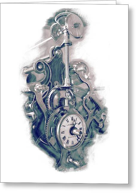 Cog Mixed Media Greeting Cards - Time Works Greeting Card by Louis Prinsloo