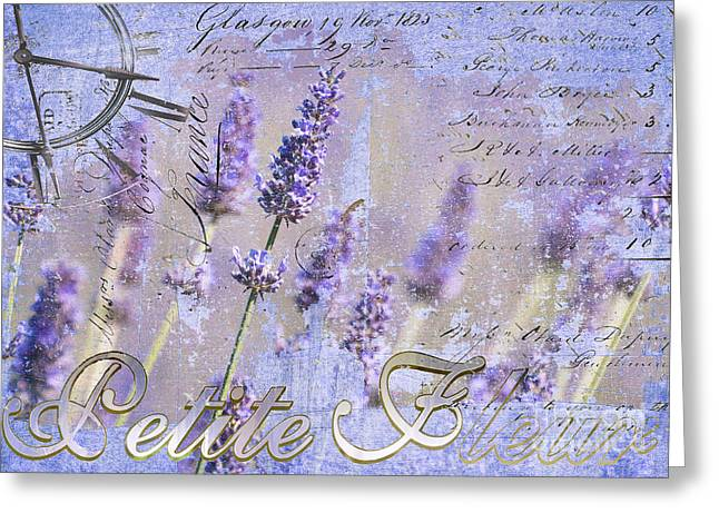 French Script Greeting Cards - Timeless Lavender Greeting Card by Anahi DeCanio
