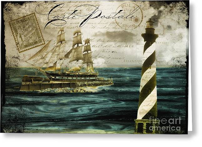 Vintage Boat Greeting Cards - Timeless Voyage Greeting Card by Mindy Sommers