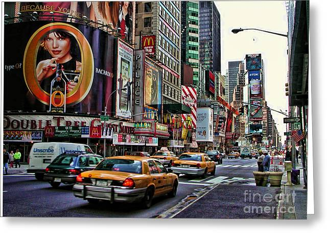Times Square Digital Greeting Cards - Times Square 2002 Greeting Card by Edward Sobuta