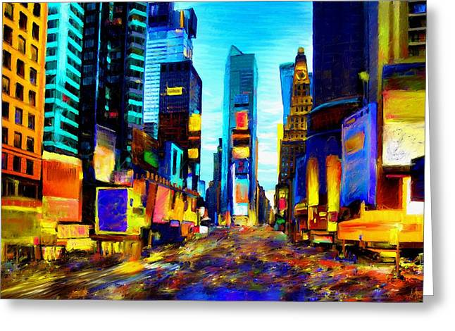 Times Square Greeting Card by Andrea Meyer