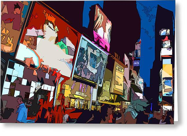 Theater Greeting Cards - Times Square Greeting Card by Christopher Woods