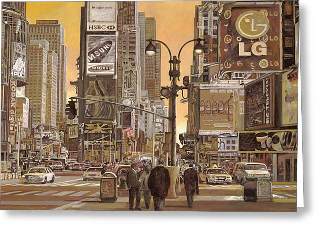 New York City Paintings Greeting Cards - Times Square Greeting Card by Guido Borelli