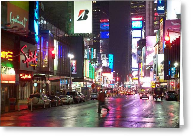 New York City Rain Greeting Cards - Times Square in the rain 2 Greeting Card by Anita Burgermeister