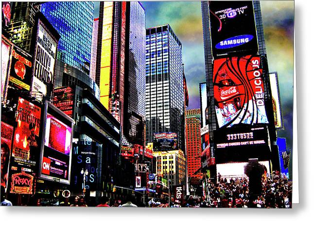 Broadway St Greeting Cards - Times Square Greeting Card by Menucha Citron