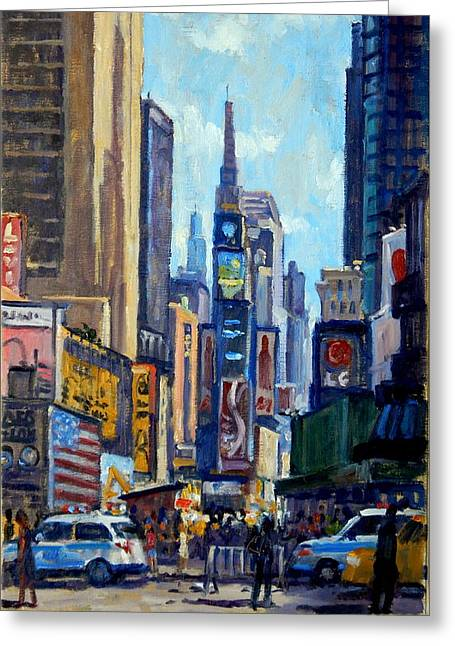 Times Square Morning New York City Greeting Card by Thor Wickstrom