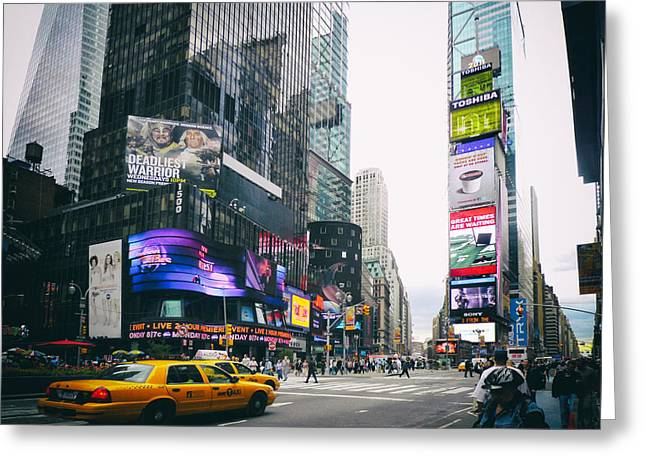 Times Square N Y C Greeting Card by Daniel Hagerman