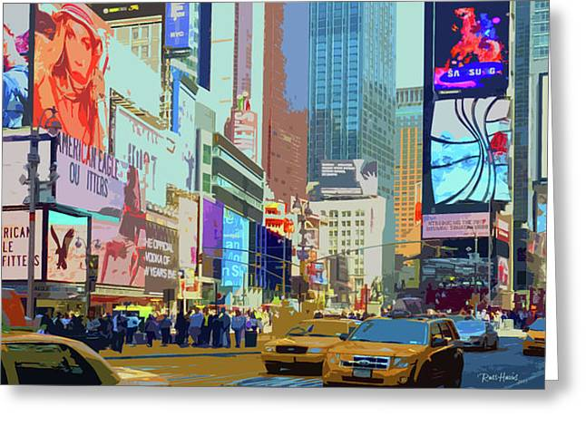 Times Square Digital Greeting Cards - Times Square New York Greeting Card by Russ Harris