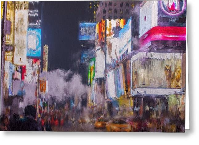 Town Mixed Media Greeting Cards - Times Square NY Greeting Card by Mark Taylor
