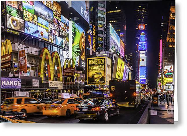 City Lights Greeting Cards - Times Square Pano Greeting Card by Nick Zelinsky
