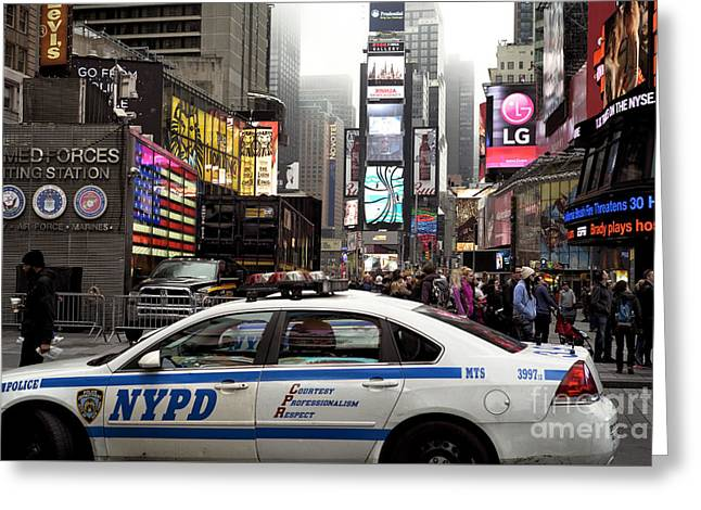 Times Square Police Car Greeting Card by John Rizzuto