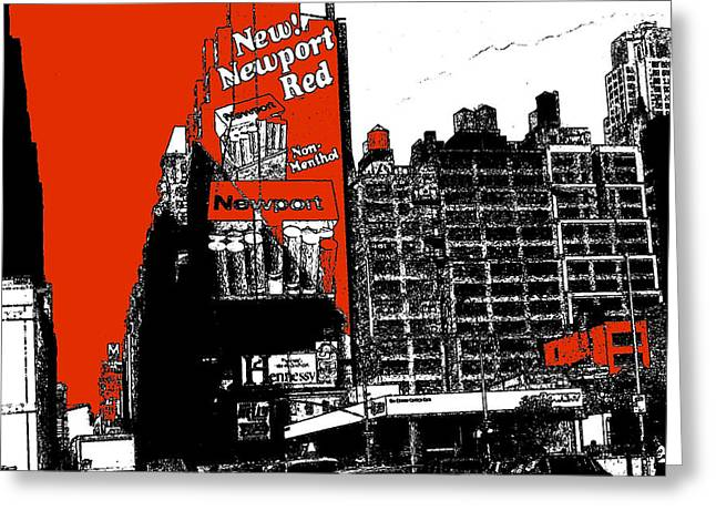 America Greeting Cards - Times Square Red - New York Drawing Greeting Card by Peter Fine Art Gallery  - Paintings Photos Digital Art