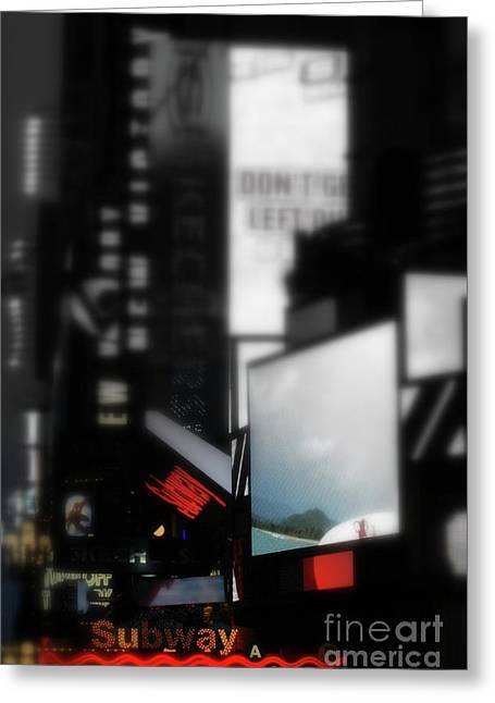 Times Square Mixed Media Greeting Cards - Times Square Subway Print Greeting Card by Anahi DeCanio