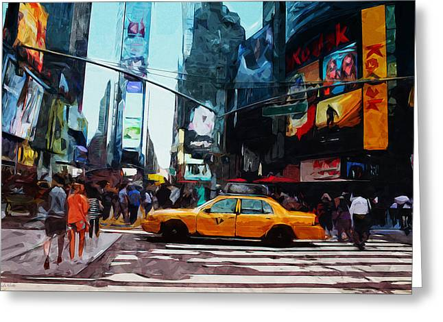 Times Square Taxi- Art By Linda Woods Greeting Card by Linda Woods