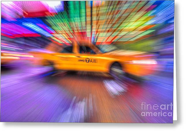 Fast Taxi Greeting Cards - Times Square Taxi V Greeting Card by Clarence Holmes