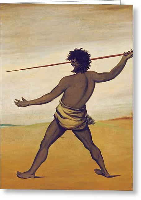 Timmy, A Tasmanian Aboriginal, Throwing A Spear Greeting Card by Benjamin Duterrau