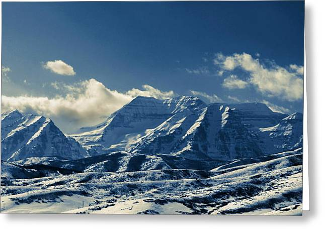Snow Capped Greeting Cards - Timpango Blue Mountains Greeting Card by Donna Duckworth