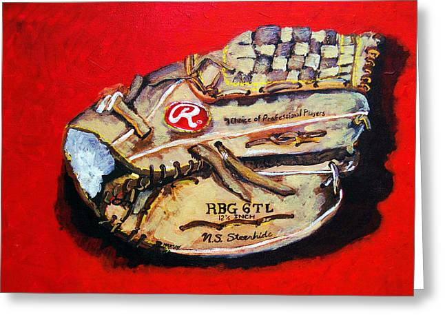 Baseball Paintings Greeting Cards - Tims Glove Greeting Card by Jame Hayes