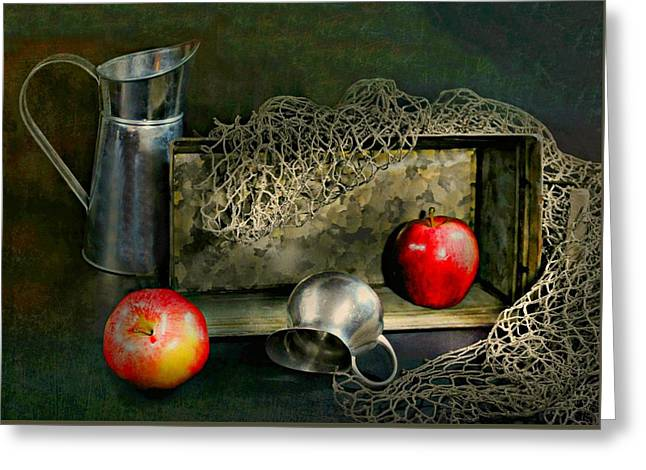 Still Life With Pitcher Greeting Cards - Tin Apples Greeting Card by Diana Angstadt