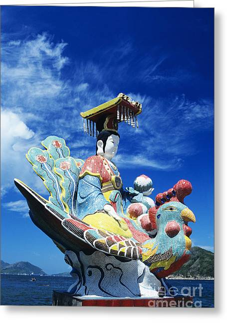 Repulse Greeting Cards - Tin Hua Temple closeup of colorful statue Greeting Card by Gloria and Richard Maschmeyer - Printscapes