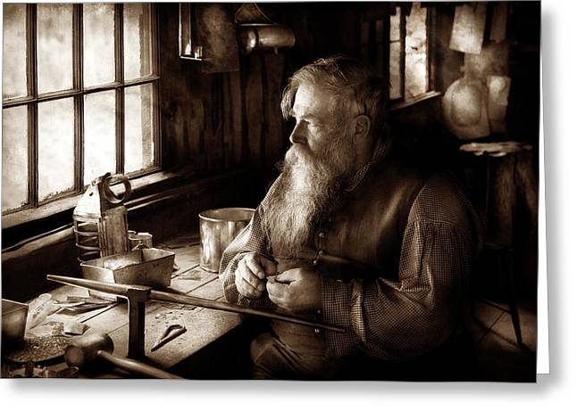 Tin Smith - Making Toys For Children - Sepia Greeting Card by Mike Savad