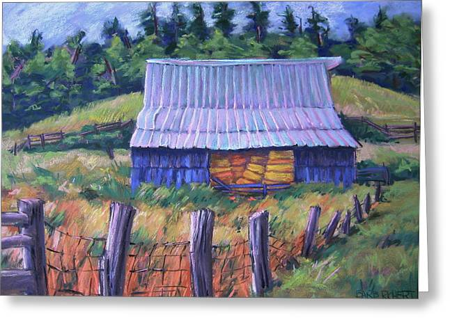 Haybales Pastels Greeting Cards - Tin Top Greeting Card by Barbara Richert